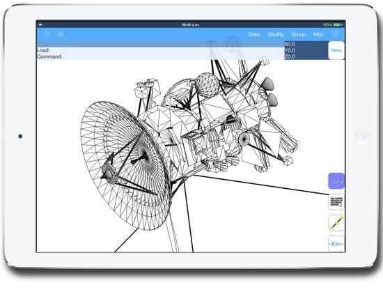 3d satellite model on the iPad - AutoQ3D cad software